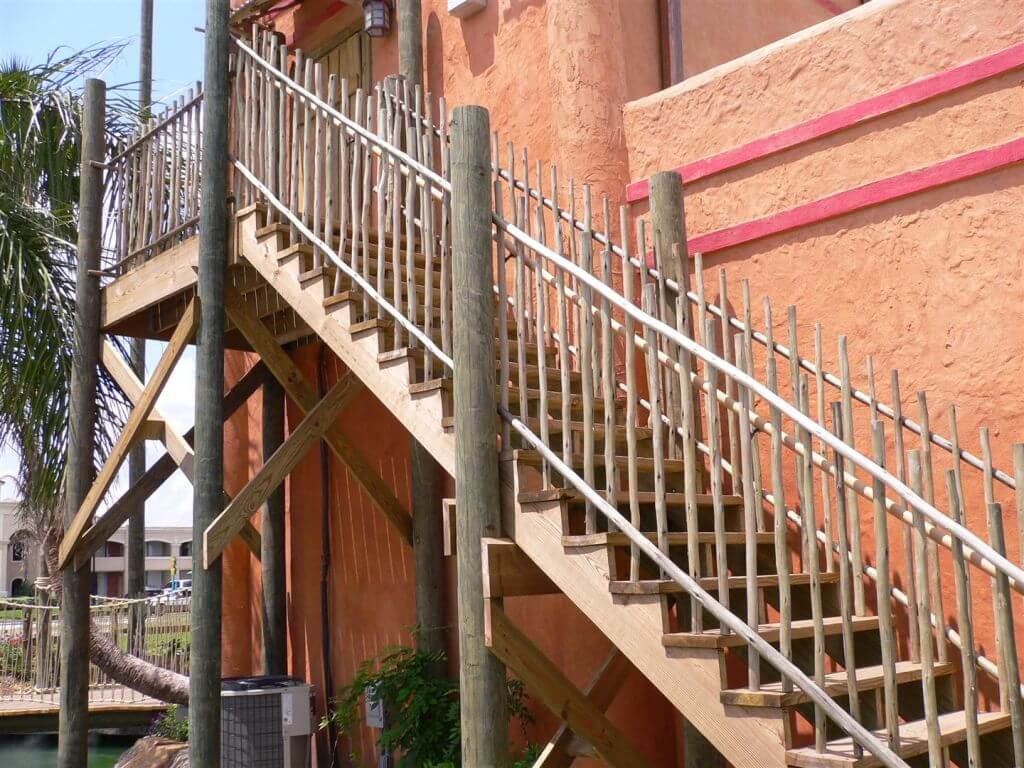 eucalyptus poles in stairs