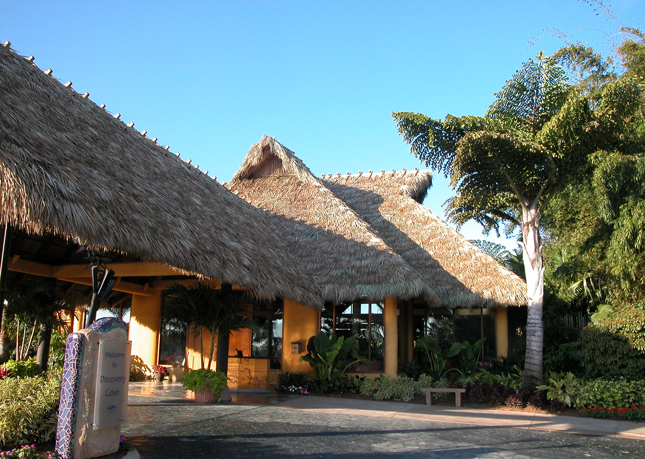 thatched building at a theme park
